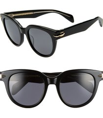 women's rag & bone 54mm cat eye sunglasses - black/ crystal