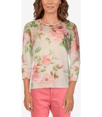 alfred dunner women's missy springtime in paris floral print sweater