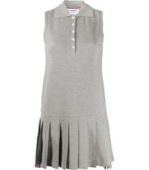 thom browne sleeveless pleated tennis dress - 055 light grey