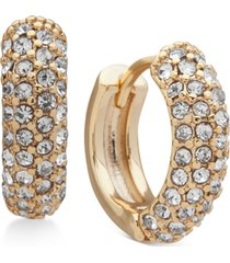 dkny gold-tone small micropave huggie hoop earrings, 7/10""