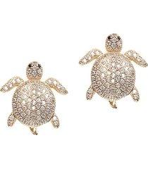 eye candy la women's luxe crystal tortoise stud earrings