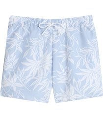 pantaloneta playa flores color azul, talla xl