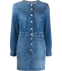 3x1 jun button-through denim mini dress - blue