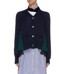 colourblock lace back hem wool cardigan