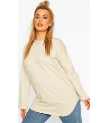 plus cotton oversized curve hem t-shirt, stone
