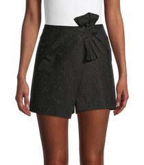 rebecca taylor women's twist-front denim skort - black - size 00