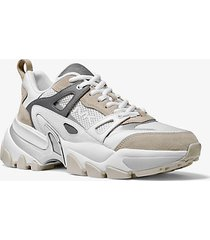 mk sneaker nick in pelle scamosciata e mesh - bianco ottico (bianco) - michael kors