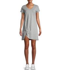 lea & viola women's twist-knot t-shirt dress - grey - size s