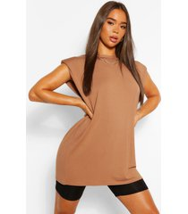tunic shoulder pad t- shirt, camel