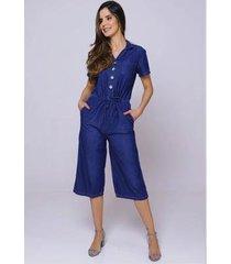 macacão jeans com manga sob feminino pantacourt com bolsos - feminino