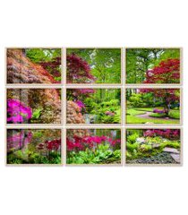 quadro 120x180cm painel jardim japônes em haia moldura natural sem vidro