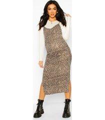 maternity leopard print midi 2 in 1 slip dress, white