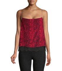 alice + olivia women's harmon snakeskin-print silk camisole - red black - size xs