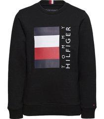 global stripe cn sweat-shirt trui zwart tommy hilfiger