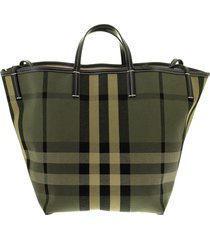 burberry medium canvas beach tote with check pattern