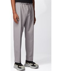 boss men's parko-pleats silver pants