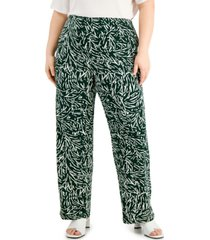 alfani plus size printed pull-on pants, created for macy's