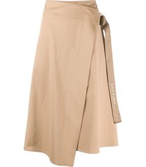 moncler buckle fastening asymmetric skirt - brown