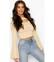 flare sleeve ribbed cut out crop top, stone