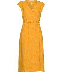 wrap-front midi dress knälång klänning gul gap