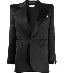 saint laurent beaded detail single-breasted blazer - black