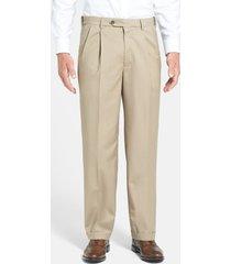 men's berle self sizer waist pleated lightweight plain weave classic fit trousers, size 32 x unh - beige