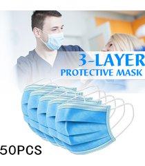 juego de máscaras faciales desechables de 50 piezas conjunto de máscaras no tejidas de 3 capas