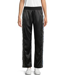 embellished satin track pants