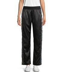 embellished satin track pants