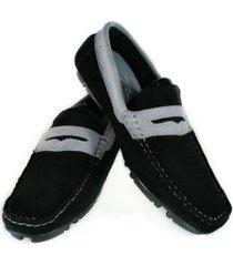 mocasín cuero negro por gris fasucol grecia tc013