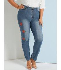 bolsillo bordado de talla grande diseño botón diseño jeans