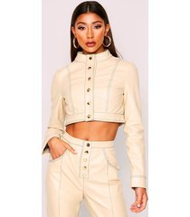 contrast stitch cropped pu jacket, stone