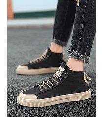 zapatillas altas de lona de moda para hombre