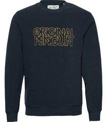 polar fleece stacked logo sweatshirt sweat-shirt tröja blå original penguin