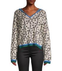 heroes & dreamers women's printed long bell-sleeve hoodie - taupe - size xl
