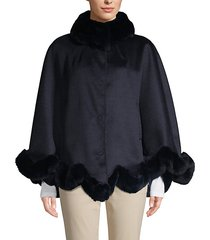 made for generation rex rabbit fur-trim wool cape