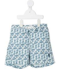 bonpoint ikat-print drawstring swim shorts - blue