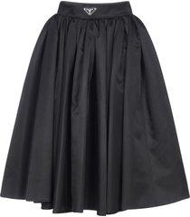 prada logo-plaque re-nylon full skirt