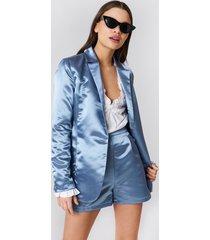 na-kd party shiny satin blazer - blue
