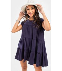 lucy babydoll mini dress - navy