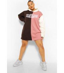 plus colour block sweatshirt jurk met tekst en capuchon, rose