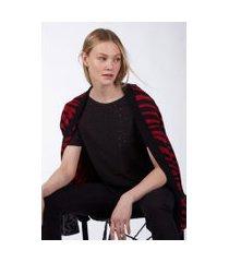 camiseta manga curta em malha furadinha preto