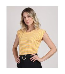 regata feminina em tricô alongada decote redondo amarelo escuro