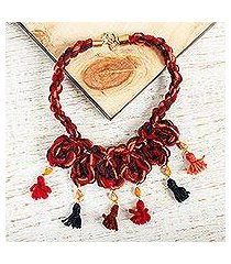 wool braided pendant necklace, 'marvelous tassels' (mexico)