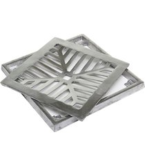 conjunto para grelha quadrada côncava 20x20cm alumínio