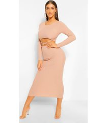 cut out rib long sleeve midaxi dress, stone