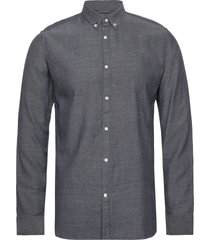 elder ls twill shirt - gots/vegan skjorta casual grå knowledge cotton apparel