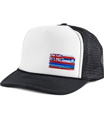 boné blanks co snap back bandeira lateral hawaii aba curva branco e preto
