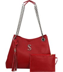 bolsa de ombro grande alça corrente vermelha selten - tricae