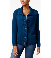 karen scott petite button-front marled cardigan sweater, created for macy's